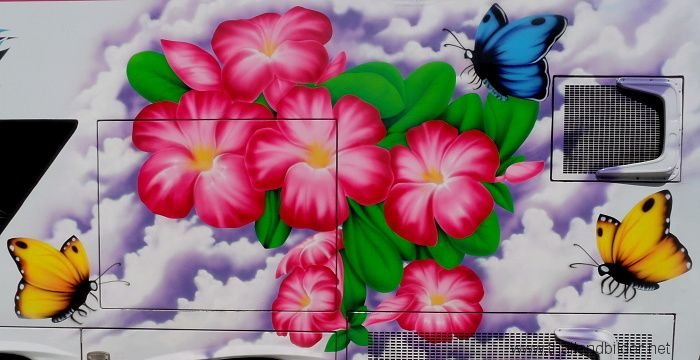 air brush blume schmetterling